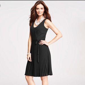 Ann Taylor Black Pleated Tank Dress
